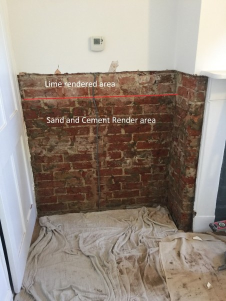 rendered damp wall